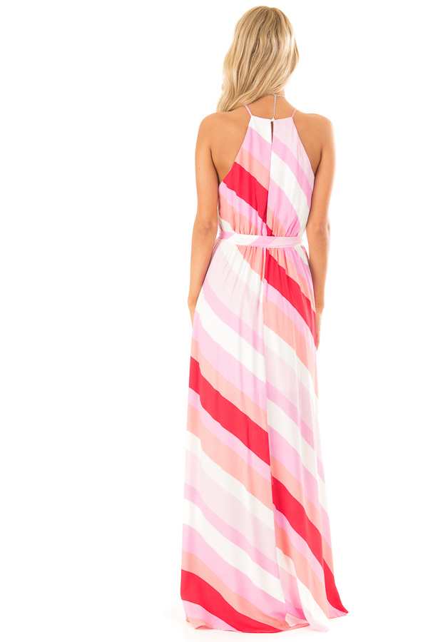 Flamingo Pink Striped Maxi Dress with Front Tie Detail back full body