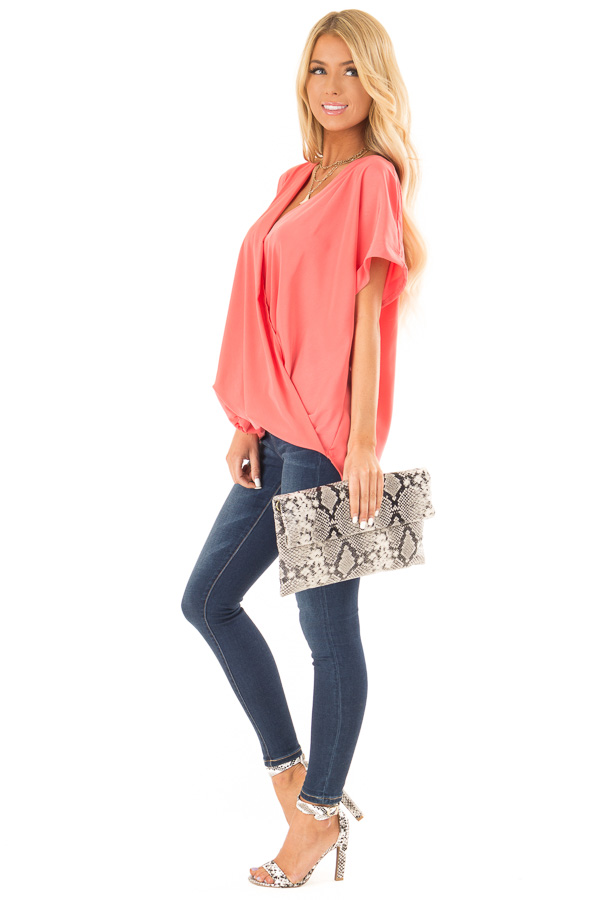 Coral V Neck Surplice Top with Short Cuffed Sleeves side full body