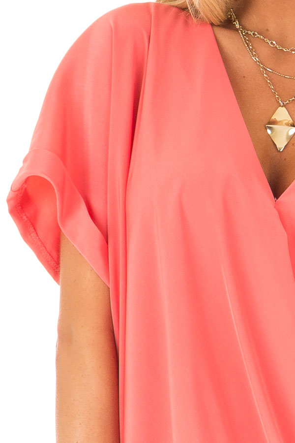 Coral V Neck Surplice Top with Short Cuffed Sleeves detail