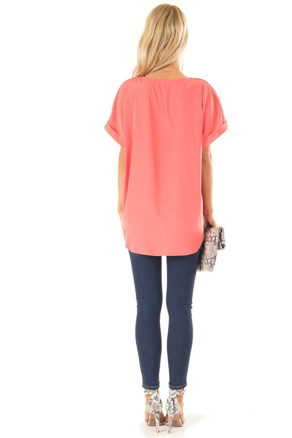 Coral V Neck Surplice Top with Short Cuffed Sleeves back full body