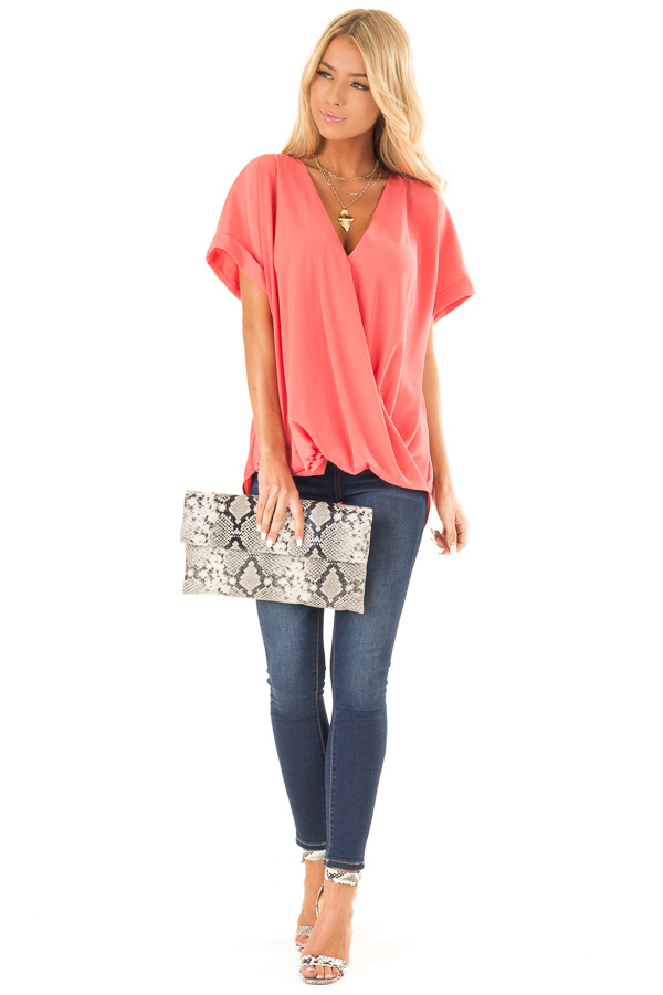 Coral V Neck Surplice Top with Short Cuffed Sleeves front full body