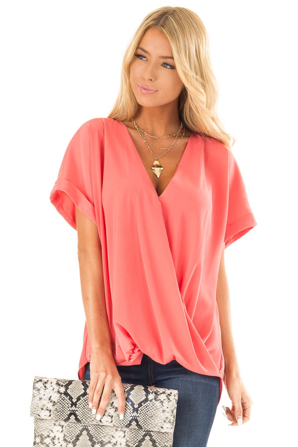 Coral V Neck Surplice Top with Short Cuffed Sleeves front close up
