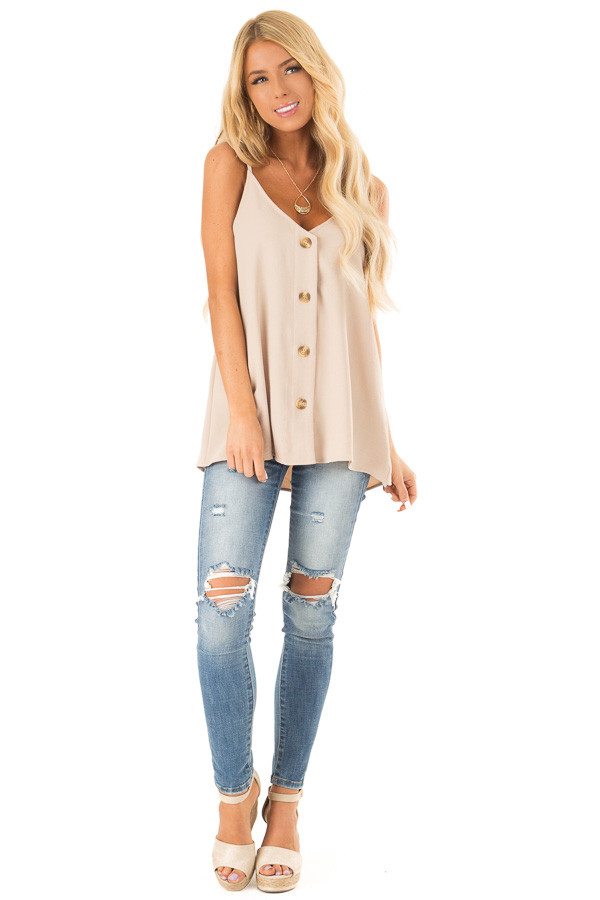 Light Taupe Button Up V Neck Spaghetti Strap Tank Top front full body