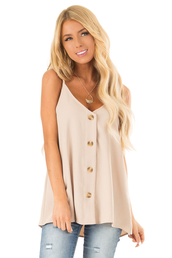 Light Taupe Button Up V Neck Spaghetti Strap Tank Top front close up