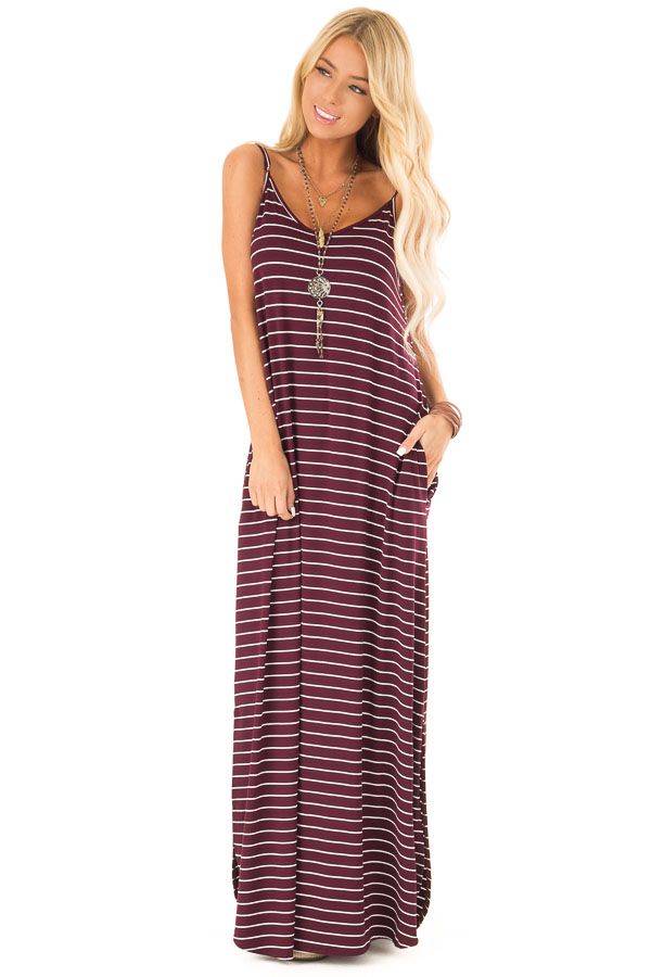 Burgundy and Ivory Striped Maxi Dress with Side Slits front full body