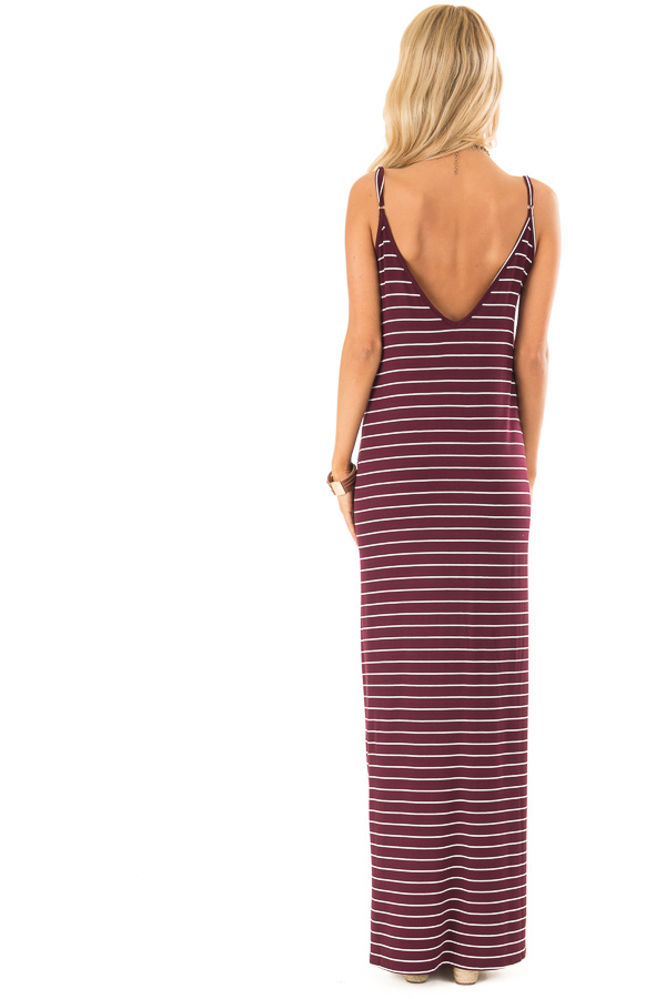 Burgundy and Ivory Striped Maxi Dress with Side Slits back full body