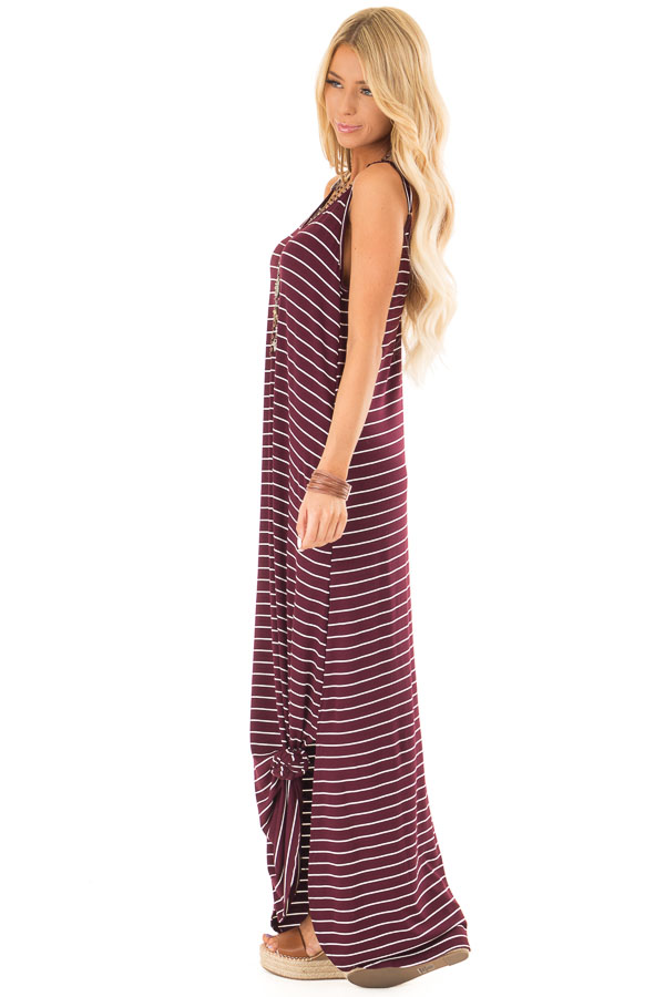 Burgundy and Ivory Striped Maxi Dress with Side Slits side full body