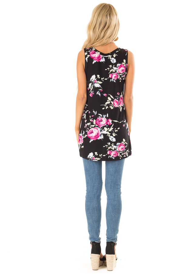 Ebony Black Floral Print Tank Top with Front Twist Detail back full body