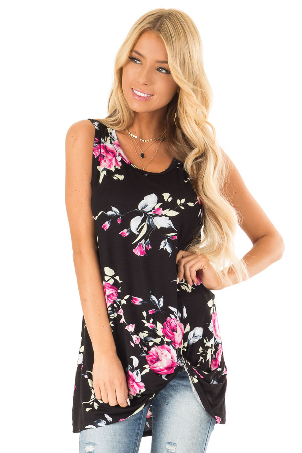 Ebony Black Floral Print Tank Top with Front Twist Detail front close up