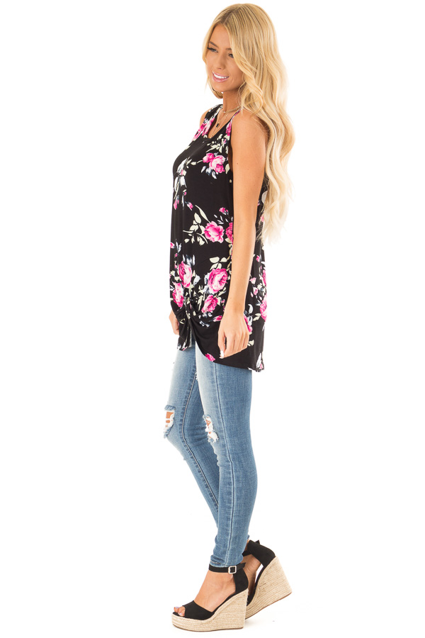 Ebony Black Floral Print Tank Top with Front Twist Detail side full body