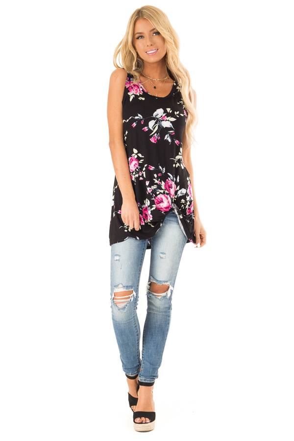 Ebony Black Floral Print Tank Top with Front Twist Detail front full body