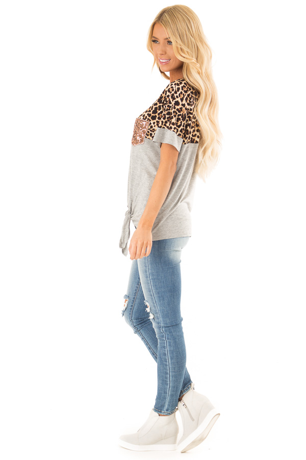 Heather Grey and Leopard Print Top with Front Tie and Pocket side full body