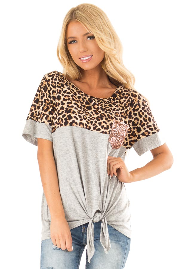Heather Grey and Leopard Print Top with Front Tie and Pocket front close up