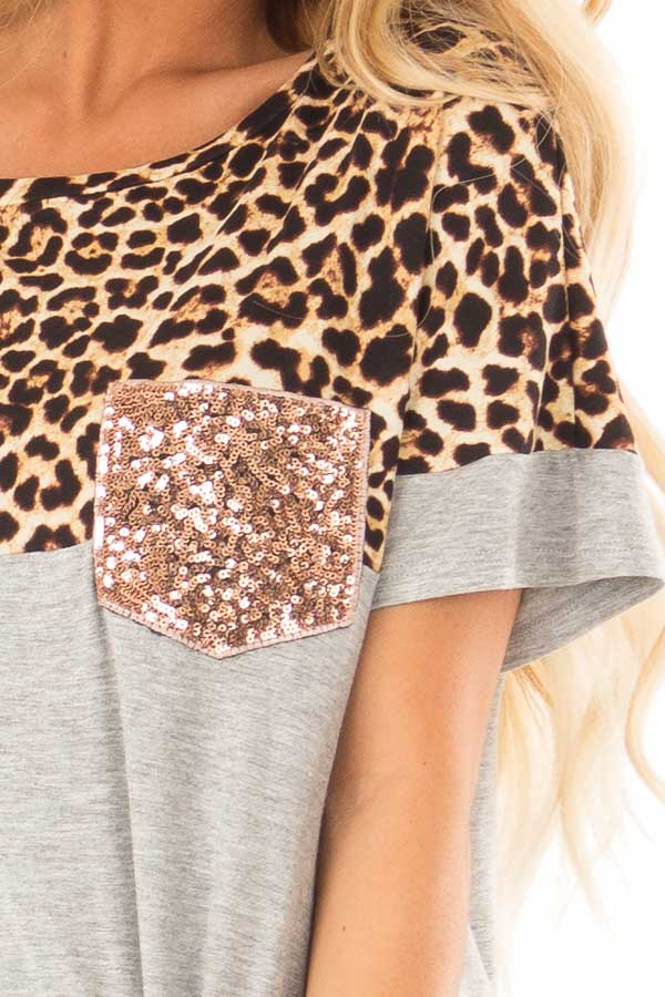 Heather Grey and Leopard Print Top with Front Tie and Pocket detail