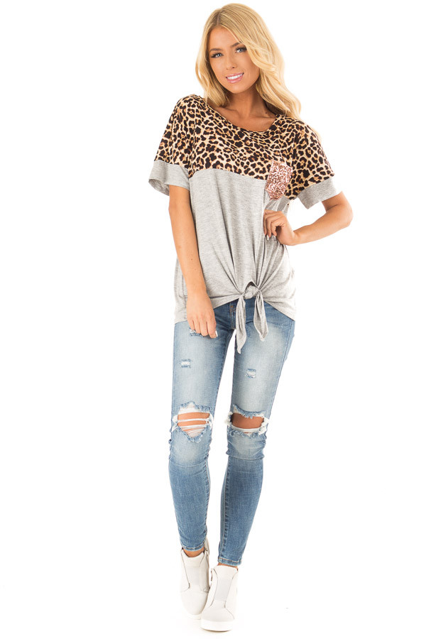 Heather Grey and Leopard Print Top with Front Tie and Pocket front full body