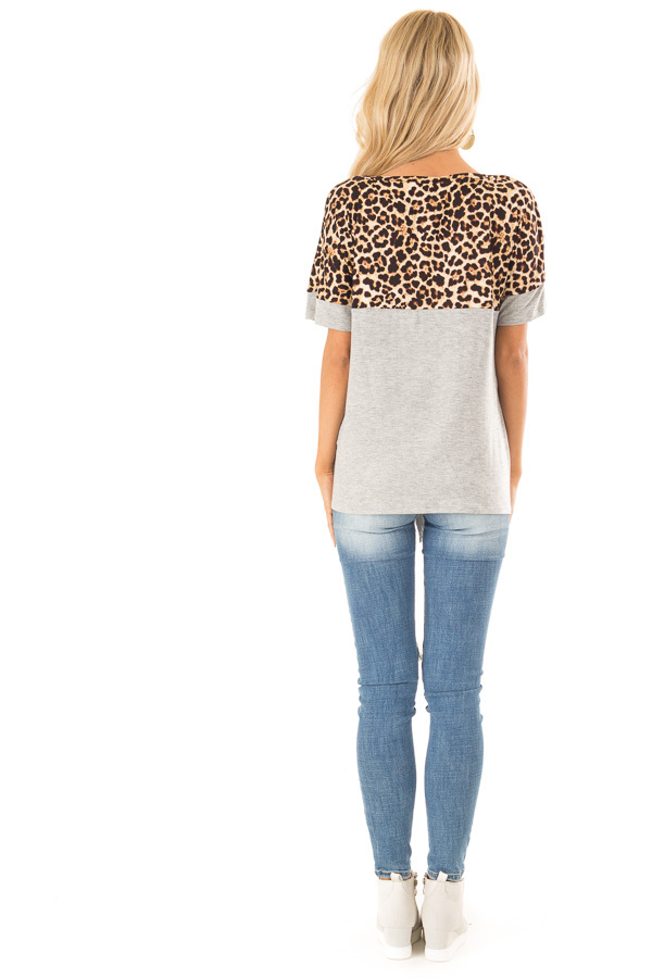 Heather Grey and Leopard Print Top with Front Tie and Pocket back full body