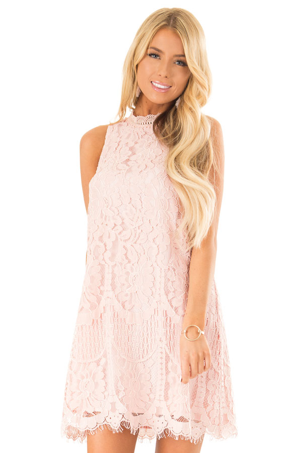Blush Sleeveless Guipure Lace Dress with Scallop Hem Detail front close up