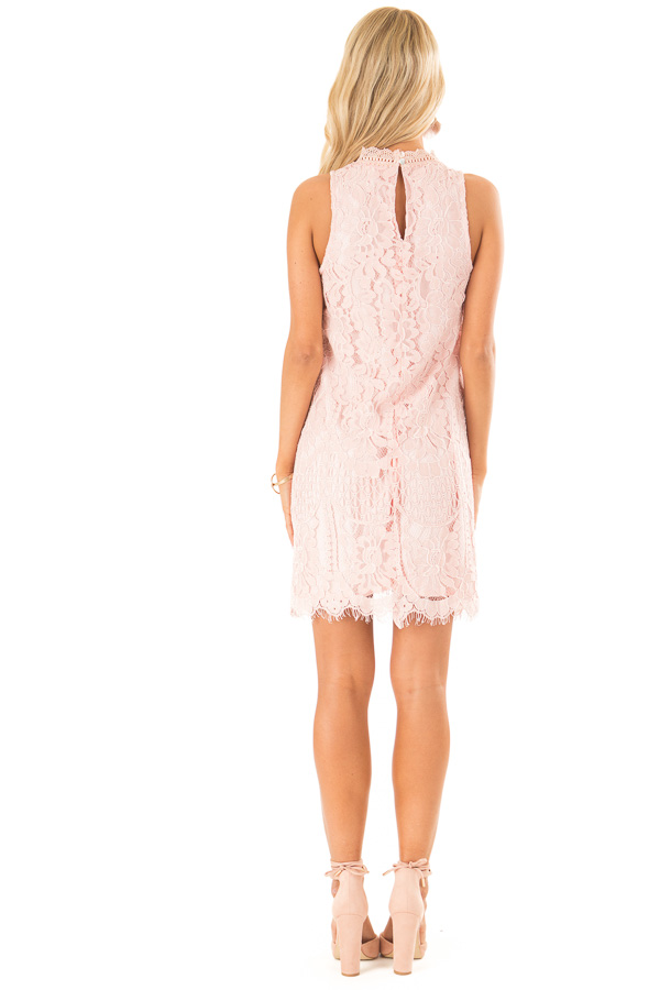 Blush Sleeveless Guipure Lace Dress with Scallop Hem Detail back full body