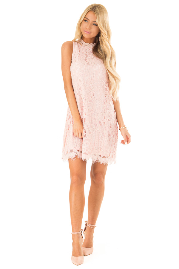 Blush Sleeveless Guipure Lace Dress with Scallop Hem Detail front full body
