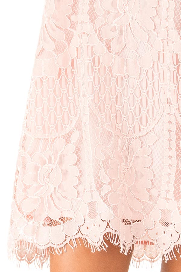 Blush Sleeveless Guipure Lace Dress with Scallop Hem Detail detail