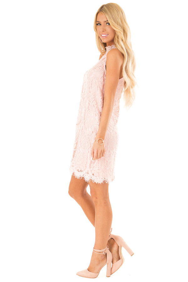 Blush Sleeveless Guipure Lace Dress with Scallop Hem Detail side full body