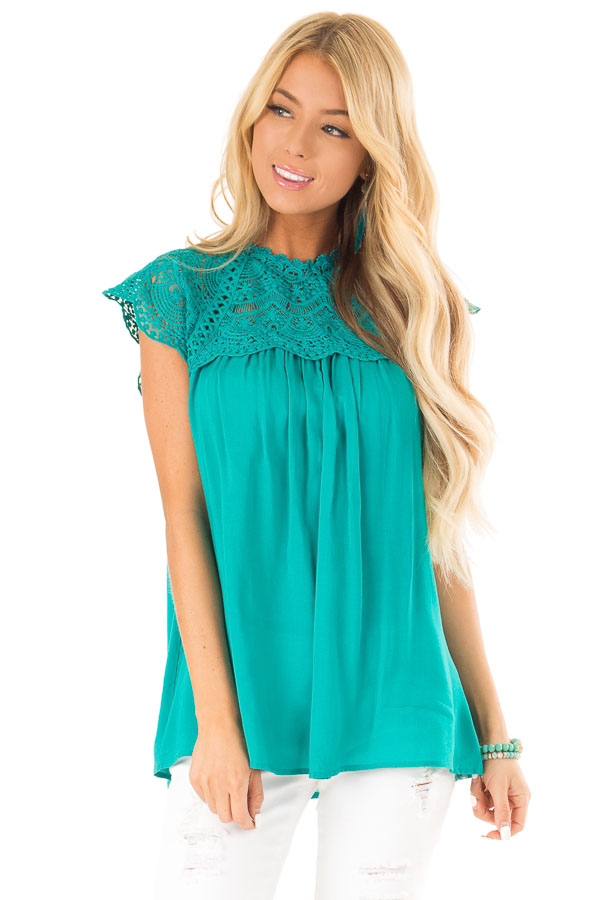 Jade Short Sleeve Mock Neck Top with Lace Detail front close up