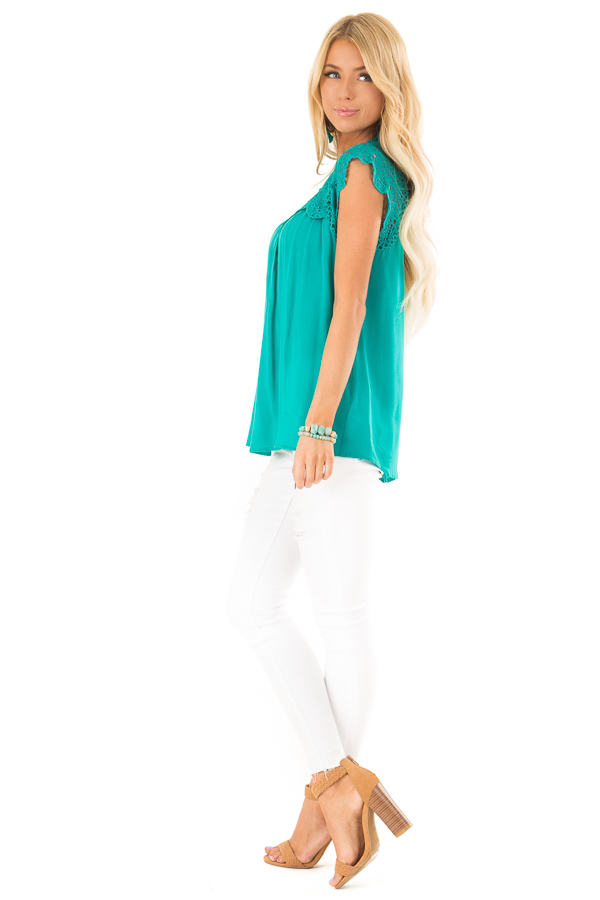 Jade Short Sleeve Mock Neck Top with Lace Detail side full body