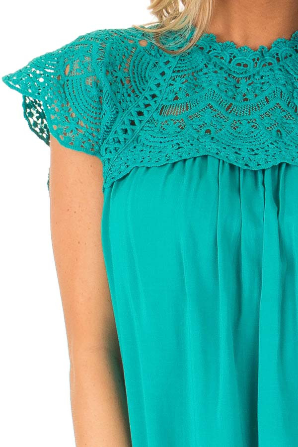 Jade Short Sleeve Mock Neck Top with Lace Detail detail