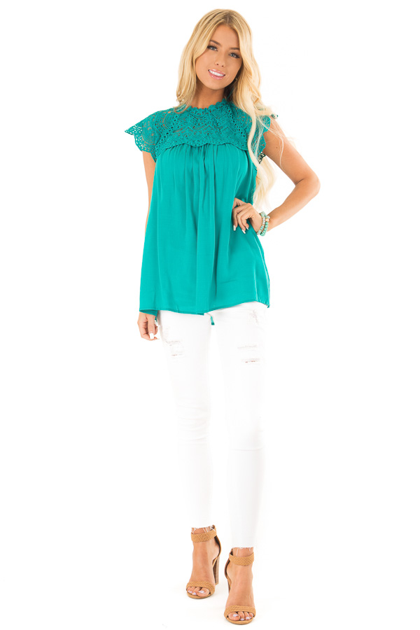 Jade Short Sleeve Mock Neck Top with Lace Detail front full body