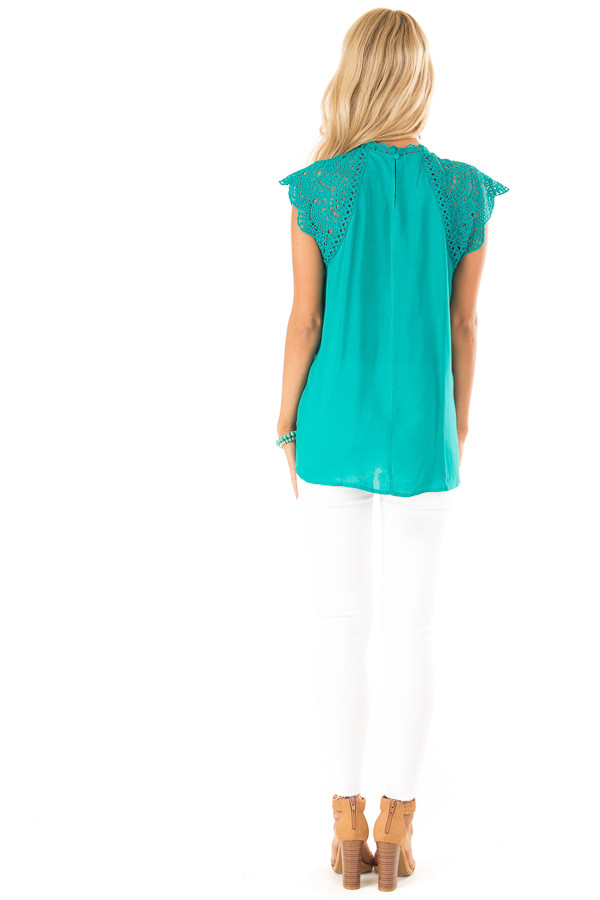 Jade Short Sleeve Mock Neck Top with Lace Detail back full body