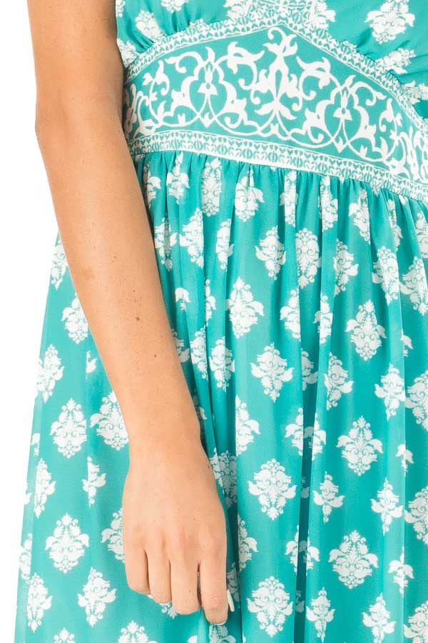 Jade Damask Print Sleeveless V Neck Maxi Dress detail