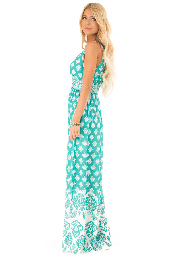 Jade Damask Print Sleeveless V Neck Maxi Dress side full body