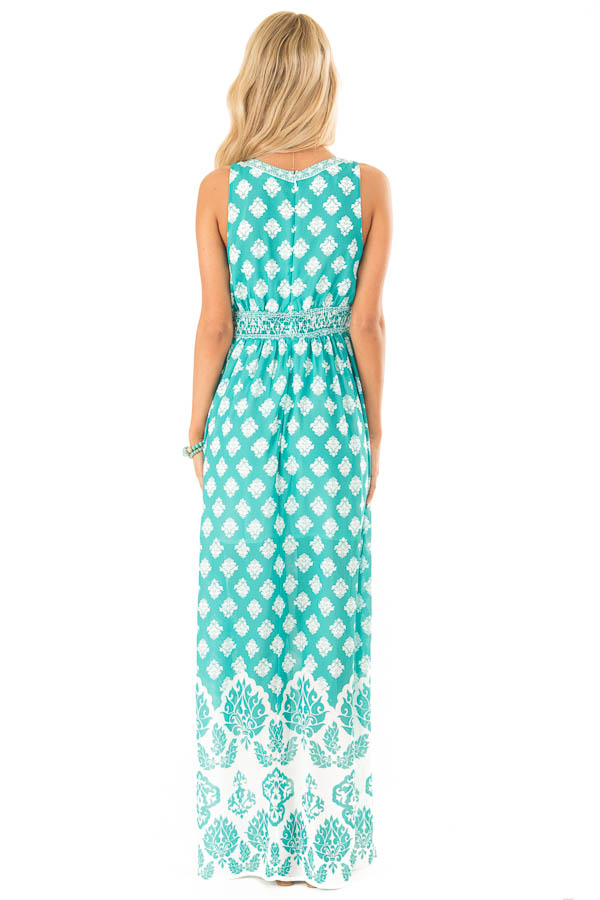 Jade Damask Print Sleeveless V Neck Maxi Dress back full body
