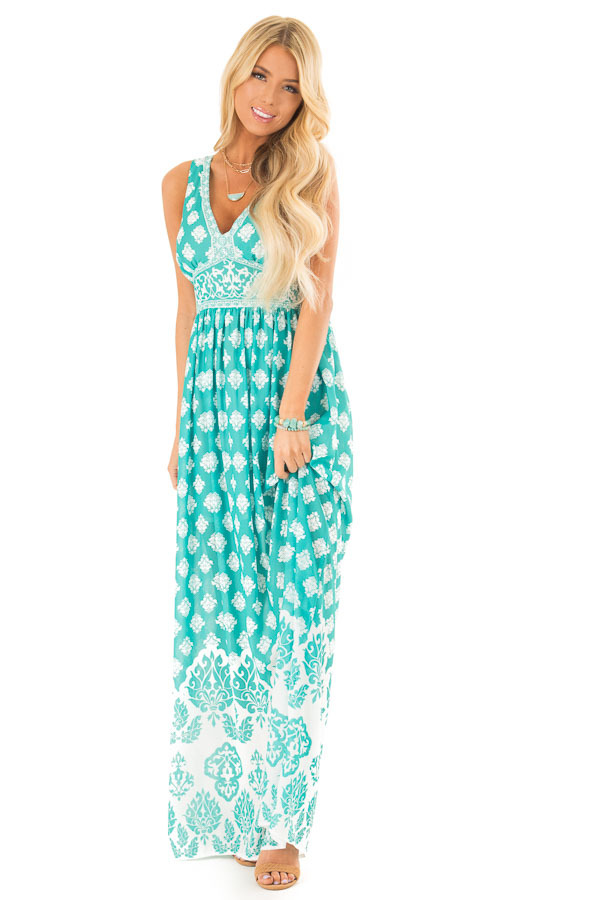 Jade Damask Print Sleeveless V Neck Maxi Dress front full body
