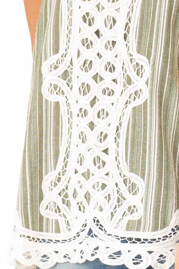 Olive Green and Ivory Halter Top with Crochet Lace Detail detail