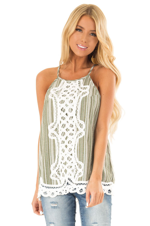 Olive Green and Ivory Halter Top with Crochet Lace Detail front close up
