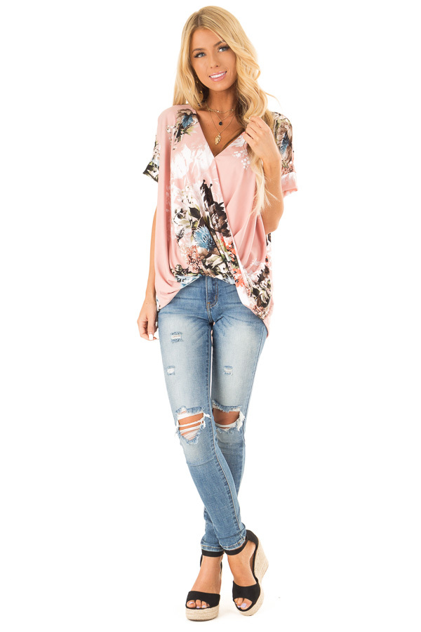 Baby Pink Surplice Top with Floral Print and Bubble Hem front full body