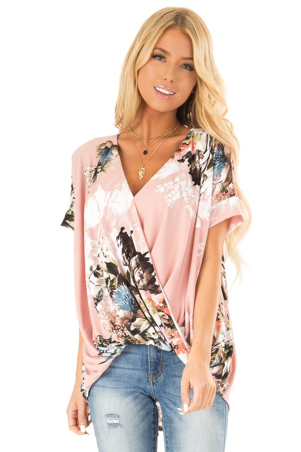 Baby Pink Surplice Top with Floral Print and Bubble Hem front close up