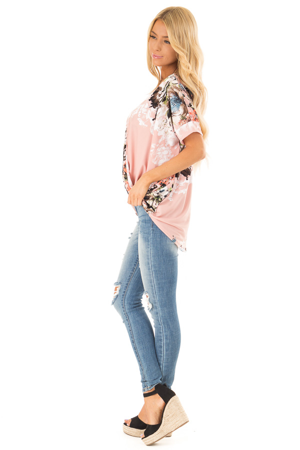 Baby Pink Surplice Top with Floral Print and Bubble Hem side full body