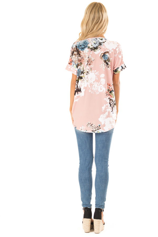 Baby Pink Surplice Top with Floral Print and Bubble Hem back full body