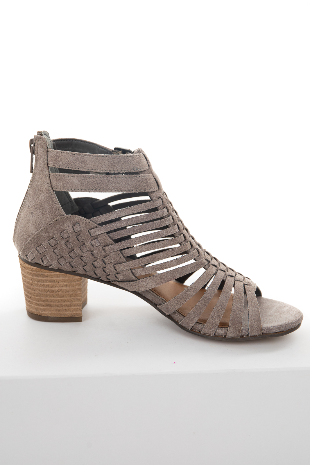 Taupe Soft Faux Leather Strappy Sandal with Chunky Heel