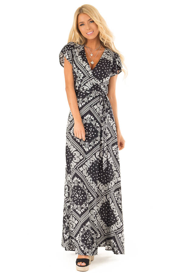 Ink Black Wrap Bandana Print Maxi Dress with Front Tie front full body