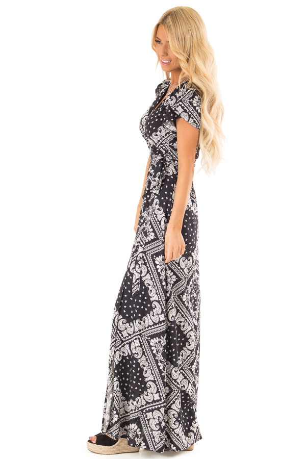 Ink Black Wrap Bandana Print Maxi Dress with Front Tie side full body