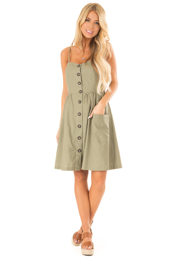 Olive Spaghetti Strap Button Up Dress with Front Pockets front full body