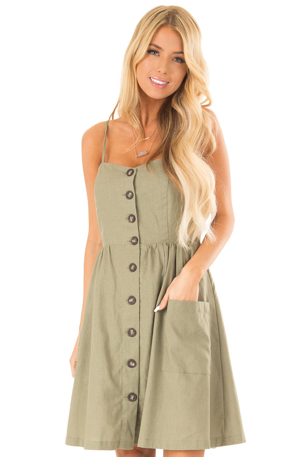 Olive Spaghetti Strap Button Up Dress with Front Pockets front close up