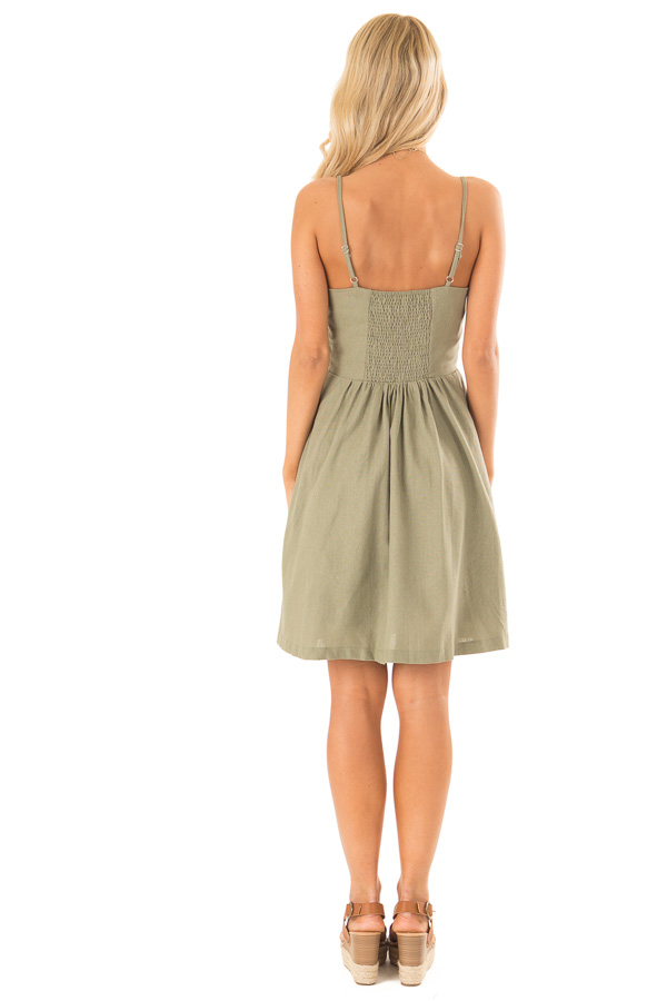 Olive Spaghetti Strap Button Up Dress with Front Pockets back full body