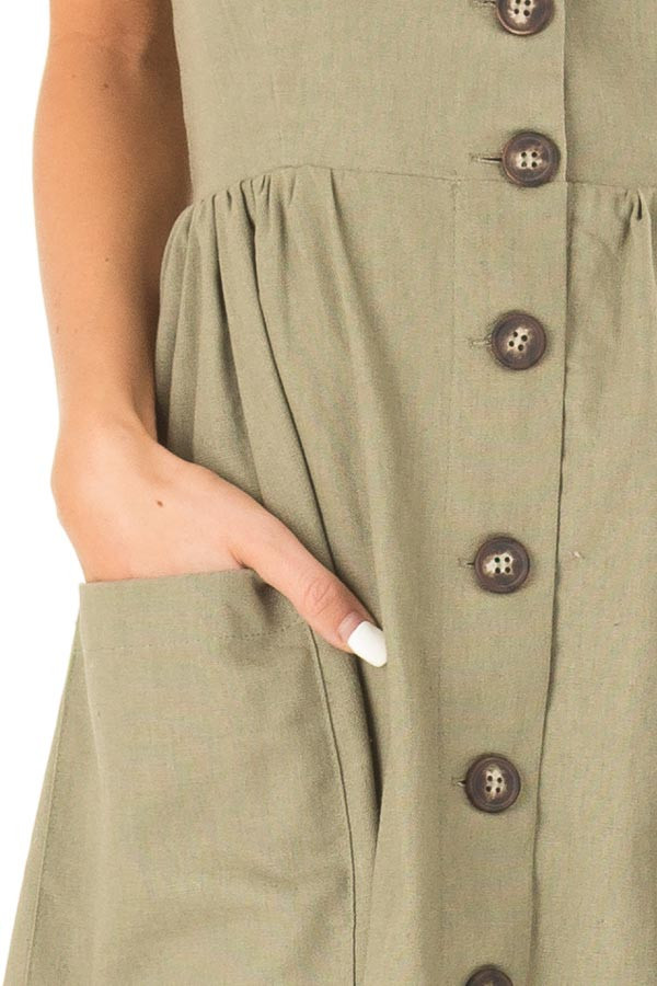 Olive Spaghetti Strap Button Up Dress with Front Pockets detail