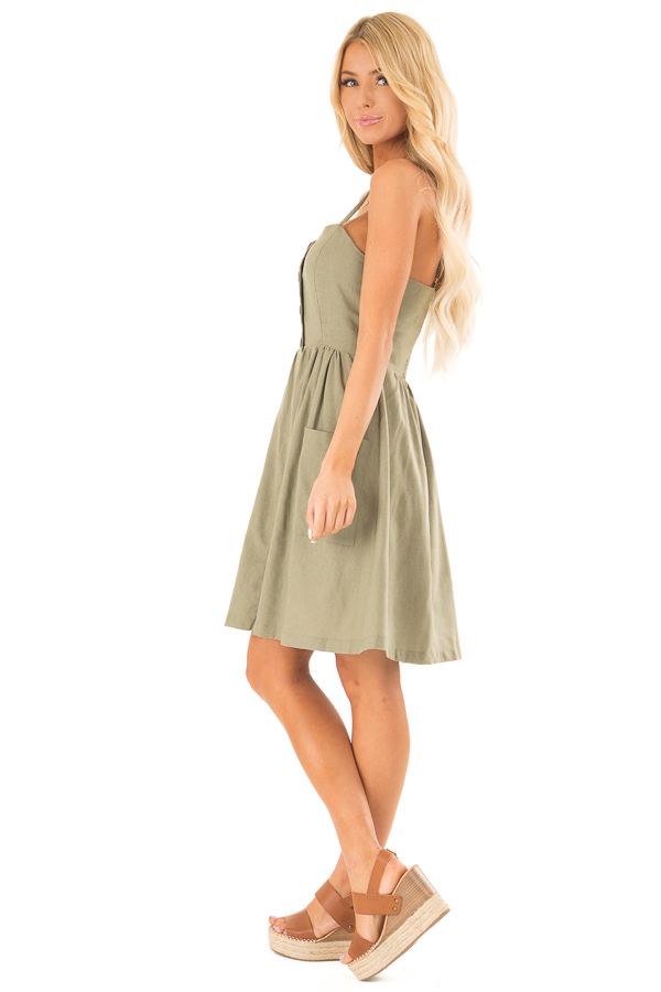 Olive Spaghetti Strap Button Up Dress with Front Pockets side full body
