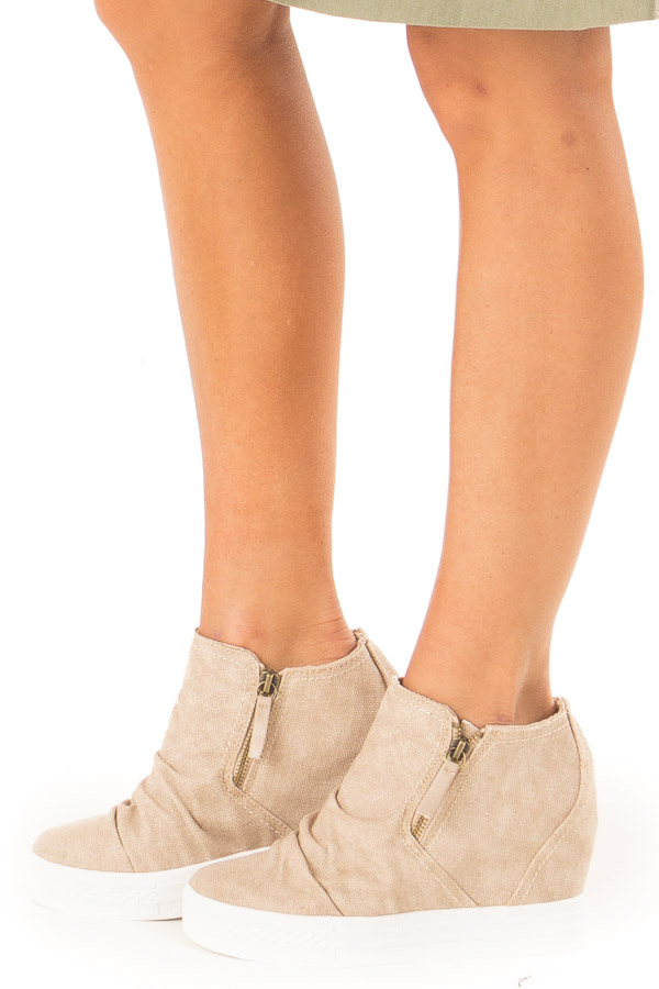 Khaki Textured Wedge Sneaker with Ruched Detail side view
