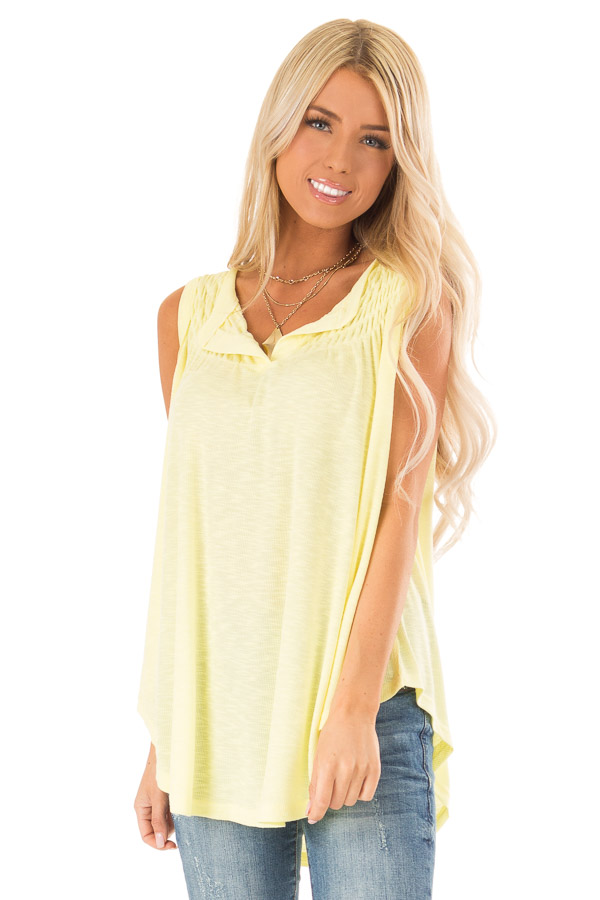 Banana Flowy Sleeveless Top with Loose Smocked Detail front close up